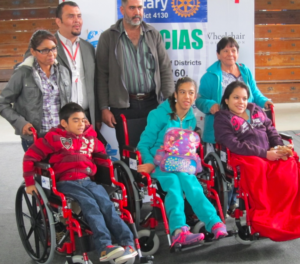 Wheelchair recipients in Monterey Mexico